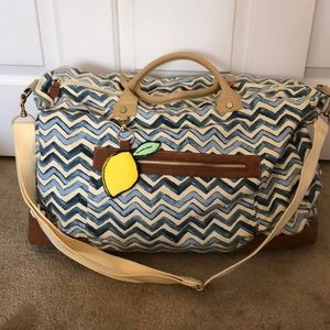 Blue & white chevron weekend bag